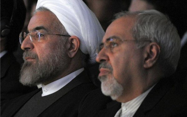 President Hassan Rouhani and the author in Davos, Switzerland, January 2014. (Eric Piermont / Getty)