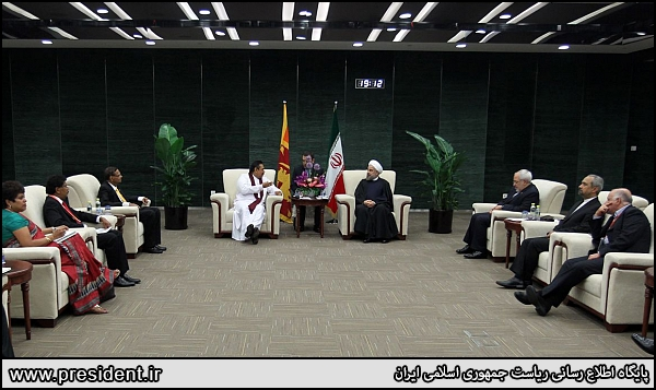 Iran president Rouhani and Sri Lankan president meeting in China