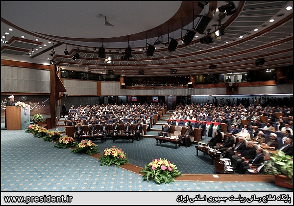 Iran president rouhani in General Assembly of Islamic Radio, Television Union