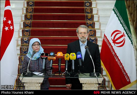 Larijani and singappore parliament speaker