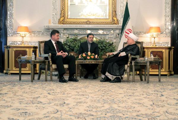 Hashemi Rafsanjani and Slovak Deputy Premier and Foreign Minister Miroslav Lajcak
