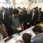 Iranian Majlis Speaker Ali Larijani votes in parliamentary and Assembly of Experts on February 26, 2016. (Tasnim)