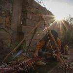 Iranian woman weaving Jajim
