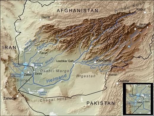 Iran-Helmand-lake-map