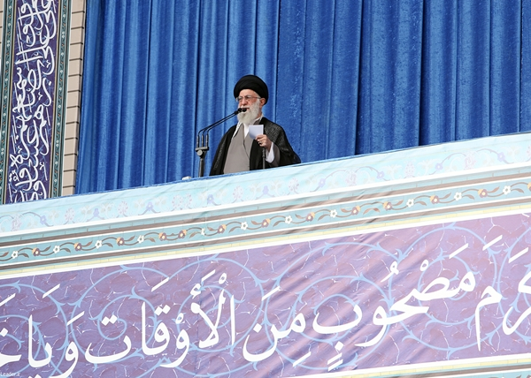 Leader of the Islamic Revolution Ayatollah Seyyed Ali Khamenei addresses worshippers at the Eid al-Fitr mass prayers, marking the end of the fasting month of Ramadan, in Tehran on July 18, 2015. (© leader.ir)