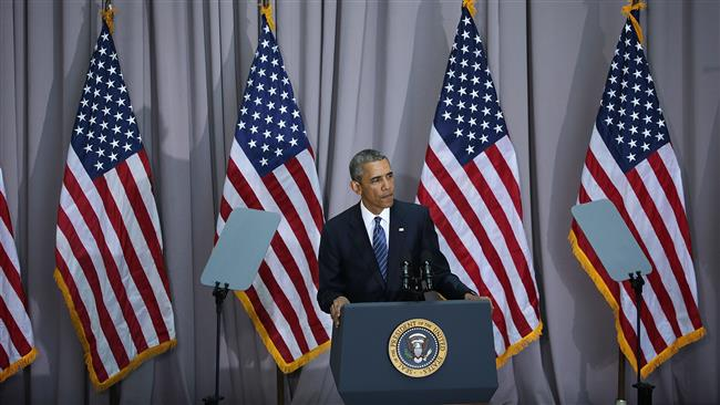 US President Barack Obama pauses as he delivers a speech about Iran's nuclear conclusion, August 5, 2015 at American University in Washington, DC. (AFP photo)