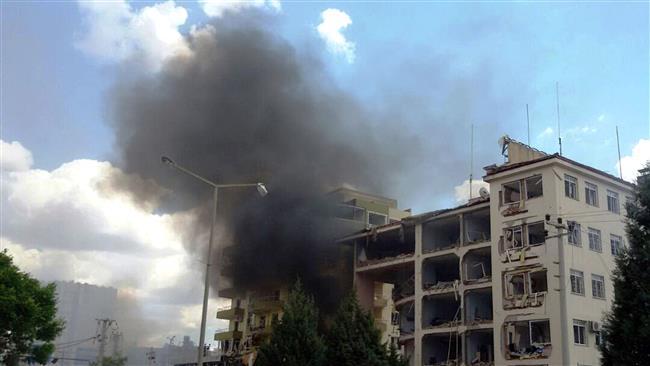 Smoke rises at Midyat Police station