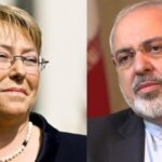Iranian Foreign Minister Mohammad Javad Zarif (R) and Chilean President Michelle Bachelet