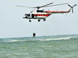 Crashed helicopter in Caspian Sea