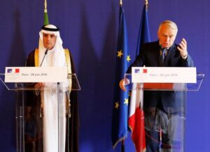 Saudi Arabia's Foreign Minister Adel al-Jubeir attends a news conference with French Foreign Minister Jean-Marc Ayrault following their meeting at the Quai D'Orsay in Paris