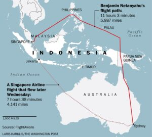 Netanyahu plane's detour around Indonesia