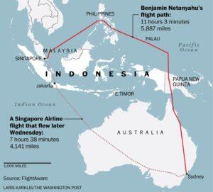 Netanyahu plane's detour around Indonesia
