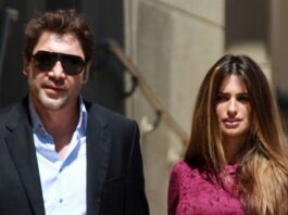 Javier Bardem and Penelope Cruz leaving El Capitain Theater in Hollywood