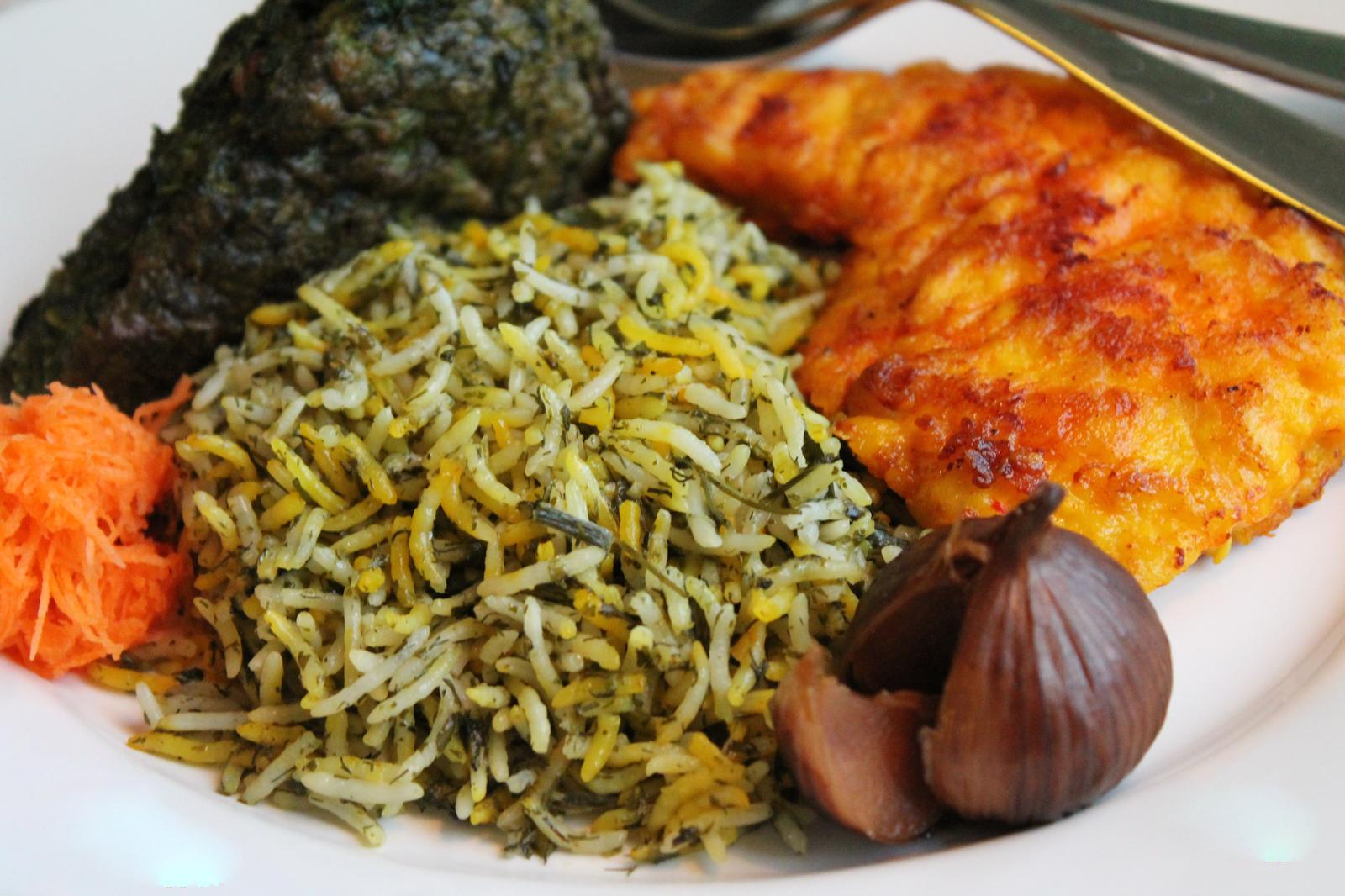 Dishes Served in Iran during Nowruz: Sabzi Polo Ba Mahi -1
