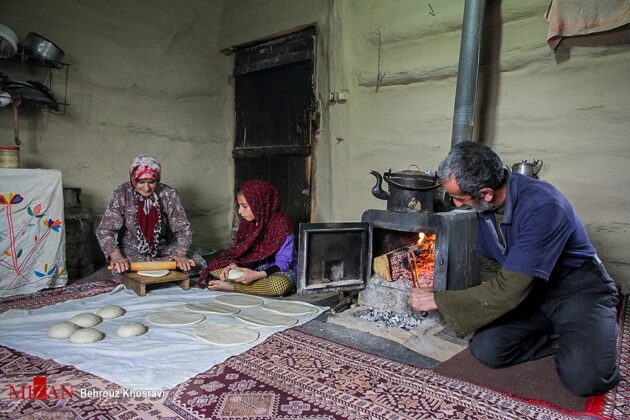 Women in Northern Iran Cooking Bread