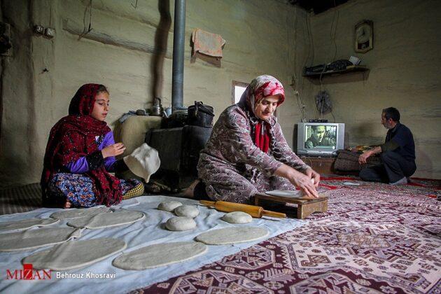 Women in Northern Iran Cooking Bread