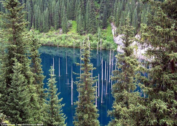 Spears of Mysterious Army Rising out of Kazakh Lake
