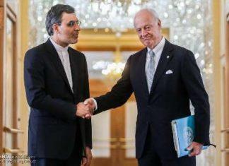 استانا-الوفد الايراني يبحث مع دي ميستورا الاوضاع في سوريا