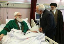 ظريف يزور آية الله هاشمي شاهرودي في المستشفى