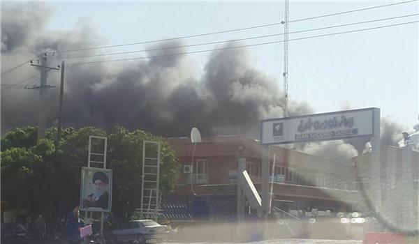اندلاع حريق كبير في مصنع ايران خودرو للسيارات بمدينة تبريز
