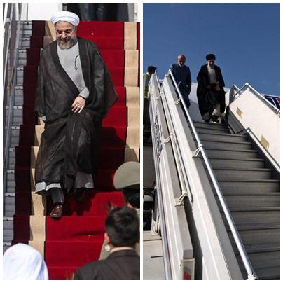 الرئيس روحاني ومنافسه رئيسي في مدينة مشهد