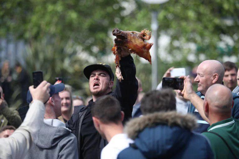 فاشیست انگلیسی برای مخالفت با اسلام کله خوک میخورد!