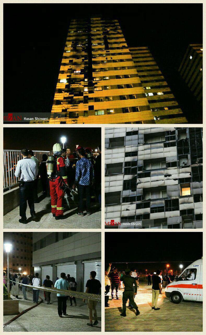 وقوع اصابات جراء حريق برج سكني في طهران 1