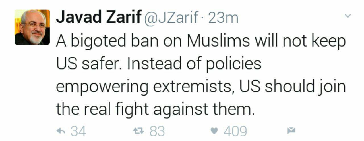 'Bigoted' Muslim Ban Not to Make US Safer: Iran FM