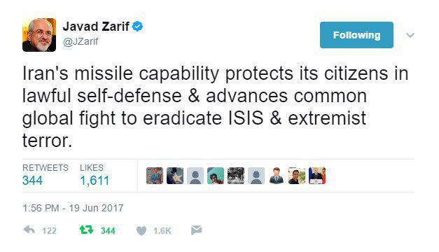 ظريف .. قدرة ايران الصاروخية تدعم المعركة العالمية ضد داعش