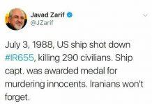 ظريف: الشعب الايراني لن ينسى جريمة اميركا في استهداف طائرة الركاب