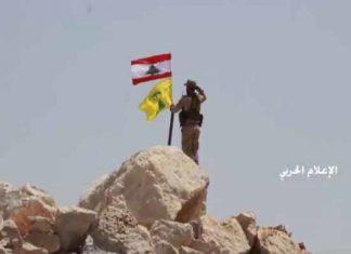 حزبالله لبنان پرچم تروریستها در مرز با سوریه را پایین کشید