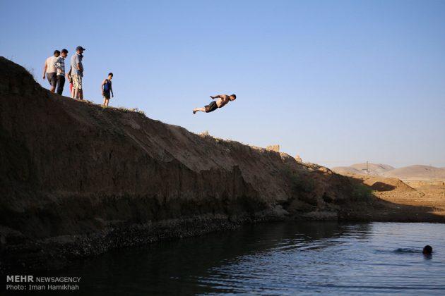 برك الماء ملاذ شباب همدان الايرانية في الصيف3