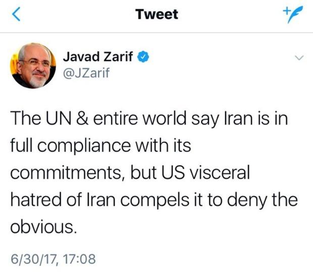 ظريف يغرد .. اميركا تنكر إقرار العالم كله بالتزام طهران بتعهداتها