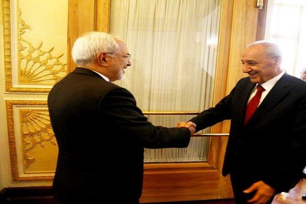 وزير الخارجية الايراني یستقبل رئیس مجلس النواب اللبناني