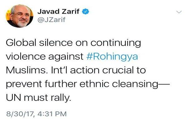 ظريف يستنكر صمت العالم إزاء الجرائم بحق مسلمي الروهينغا