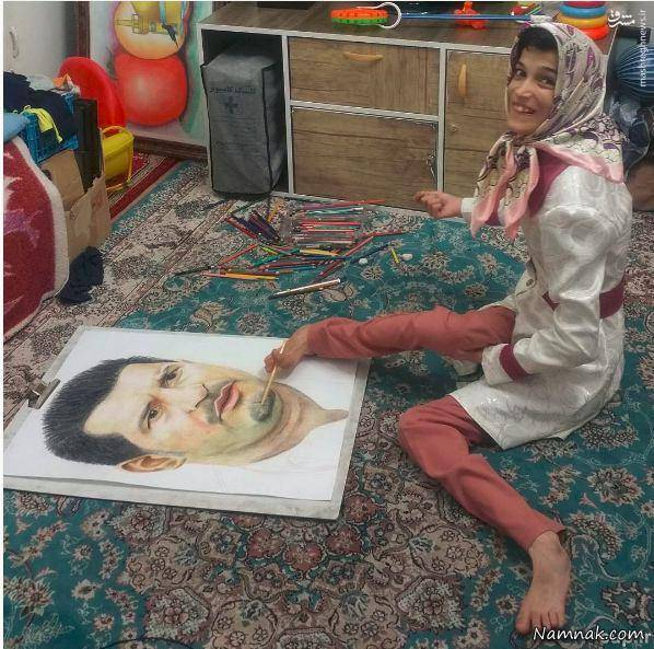 Disabled Girl Acclaimed for Painting Ronaldo's Portrait with Her Feet-1