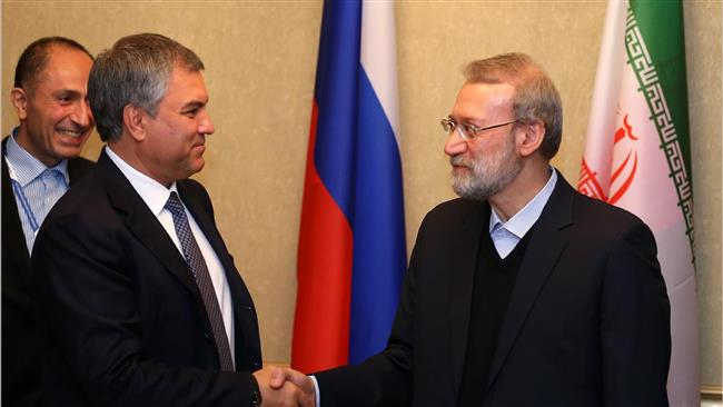 """In a Friday meeting with Vyacheslav Volodin, the speaker of the lower house of Russia's Parliament, Ali Larijani slammed Washington for repeatedly violating the nuclear deal since it took effect in January 2016. """"If the US fails agreements on the Joint Comprehensive Plan of Action (JCPOA) on the Iranian nuclear program, nothing will remain from the deal,"""