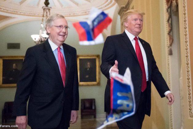 معترض آمریکایی پرچم روسیه را به سمت ترامپ پرتاب کرد!3