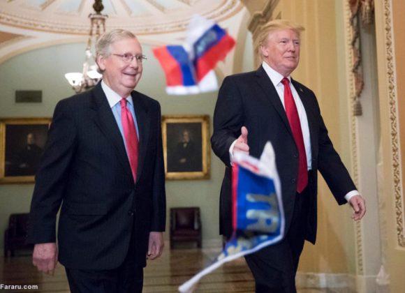 معترض آمریکایی پرچم روسیه را به سمت ترامپ پرتاب کرد!5