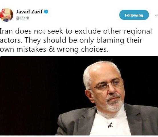 ظريف يغرد .. إيران لا تسعي إلي إزاحة باقي اللاعبين الإقليميين