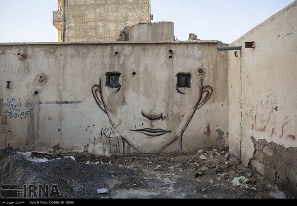 دیوارهای پوشیده از «گرافیتی» بندر عباس1