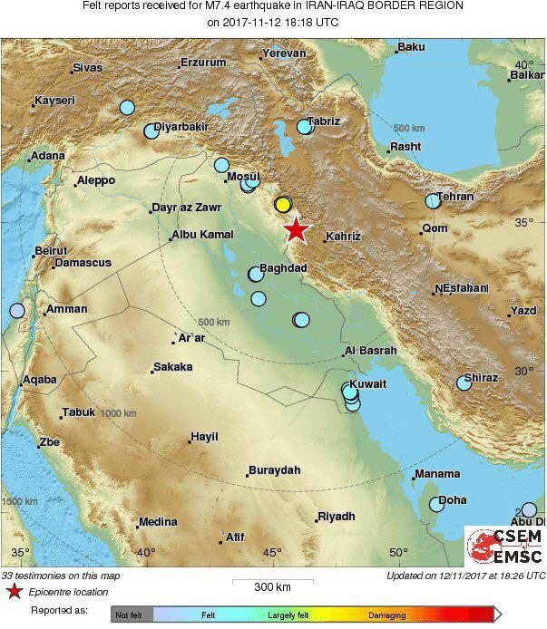 Powerful 7.6 Magnitude Quake Occurs on Iran-Iraq Border
