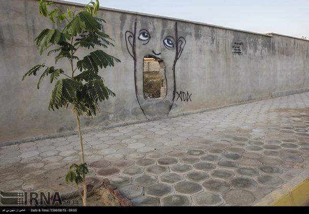 دیوارهای پوشیده از «گرافیتی» بندر عباس3