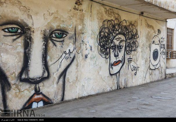 دیوارهای پوشیده از «گرافیتی» بندر عباس4