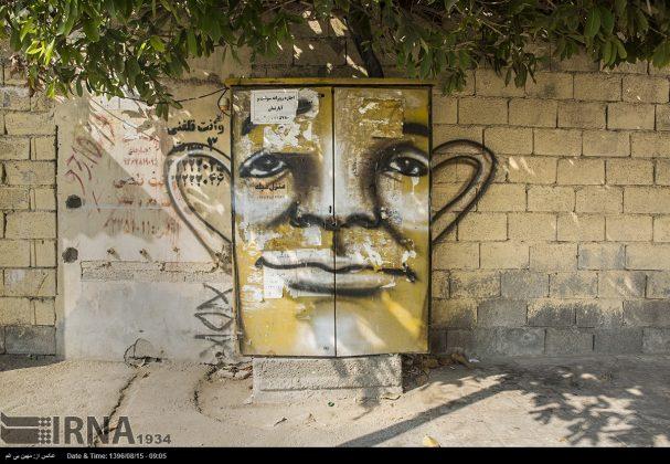 دیوارهای پوشیده از «گرافیتی» بندر عباس7