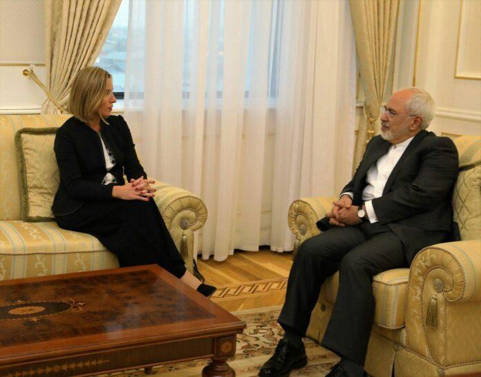 EU's Mogherini, Iran's Zarif Meet in Uzbekistan