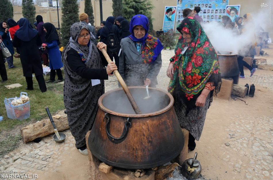 Iranian Women Cooking Samanu for Haft-Seen