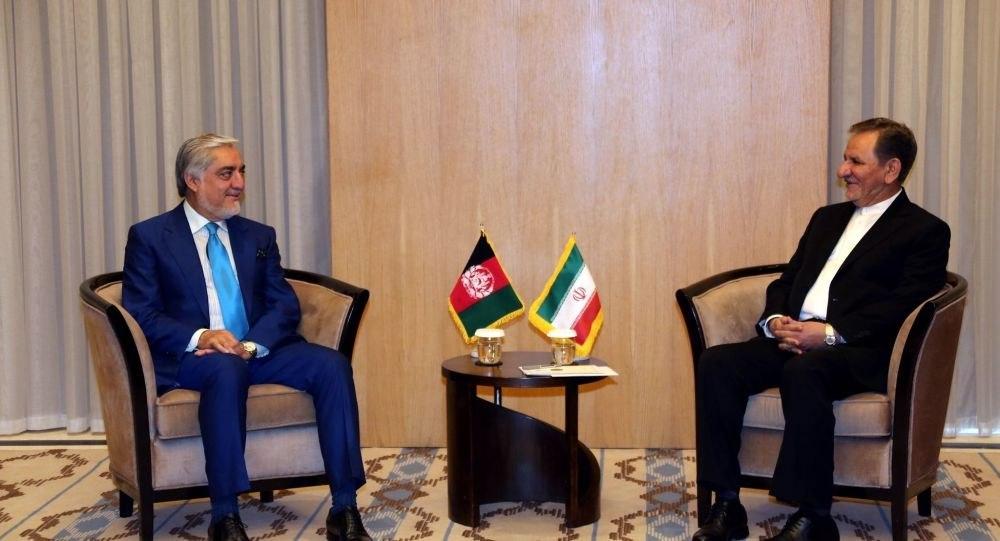 Iran vice president Jahangiri meeting with Afghan Chief Executive Abdullah Abdullah