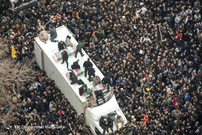 Body of Gen. Soleimani at his massive funeral procession in Tehran