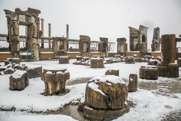 Persepolis World Heritage Site Blanketed with Snow